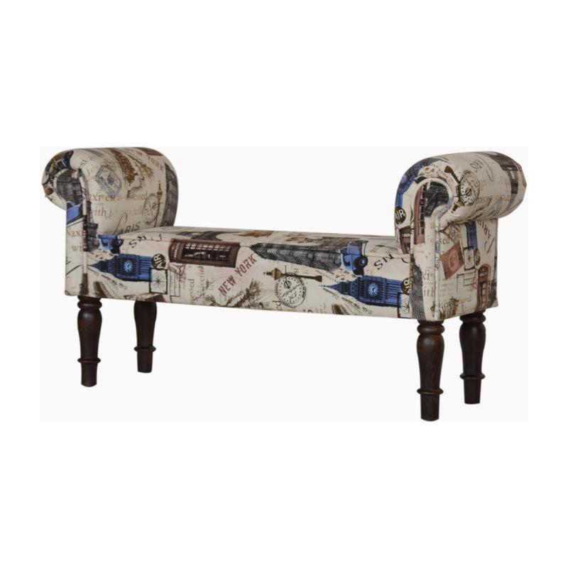 City Printed Velvet Bench