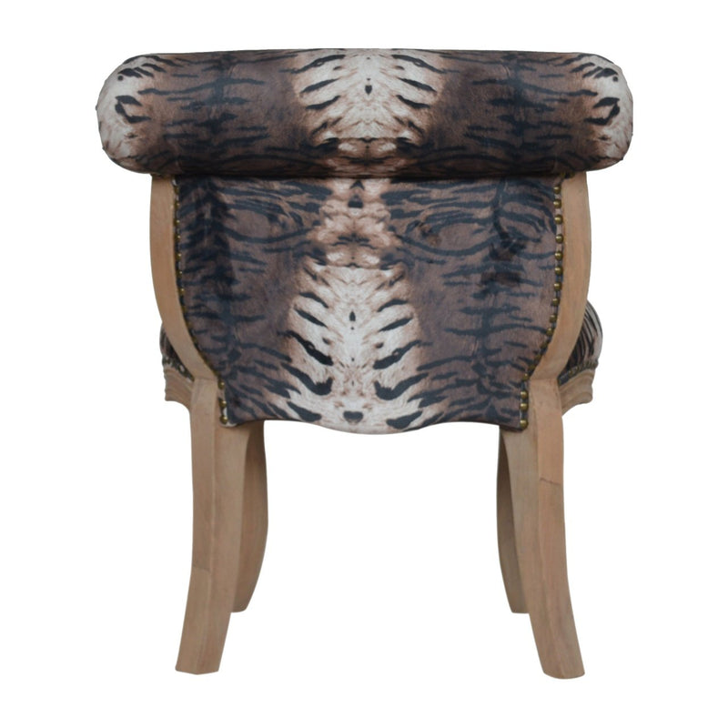 Handcrafted Tiger Velvet Studded Chair - HM_FURNITURE