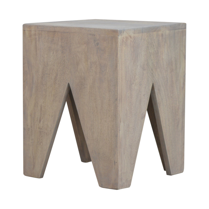 Handcrafted Solid Wood Cut-Out Stool