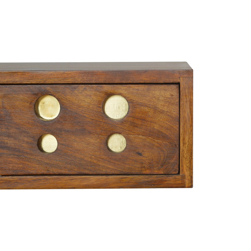 Brass Inlay 1 Drawer Wall Mounted Bedside