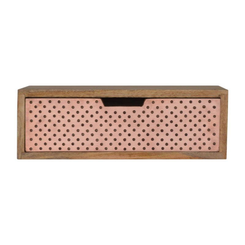 Aries - 1 Drawer Copper Bedside, Wall Mounted