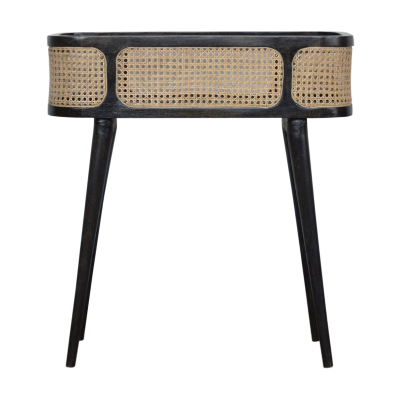 Ash Black and Rattan Tray Table