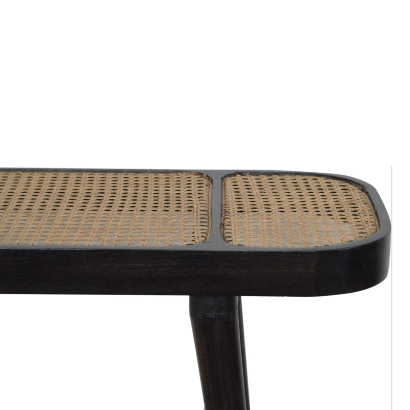 Handcrafted Ash Black and Hand Woven Rattan Console Table