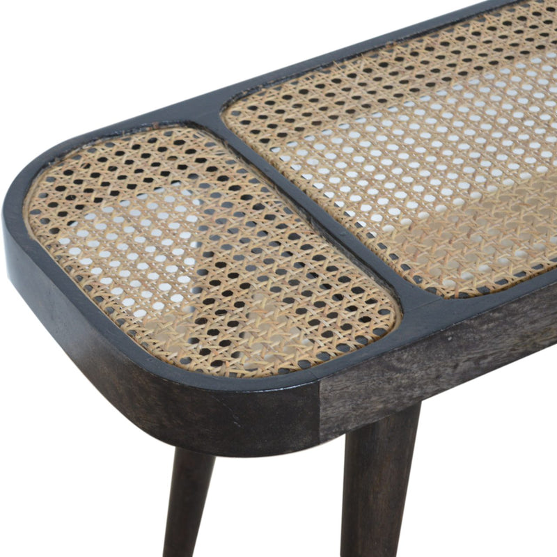 Handcrafted Ash Black and Hand Woven Rattan Bench