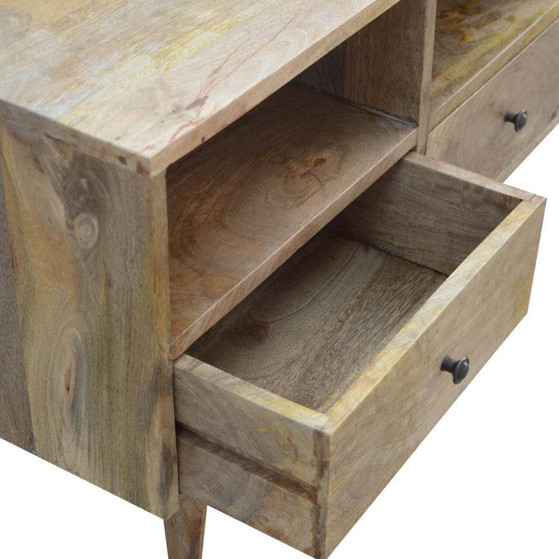 Handcrafted Media Unit With 3 Drawers and 3 Open Slots - HM_FURNITURE