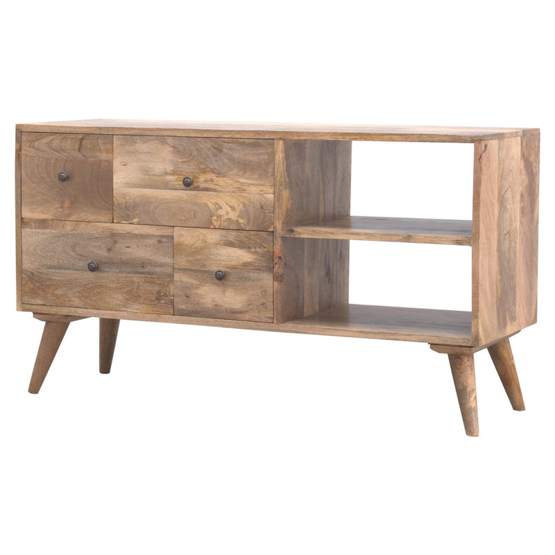 Handcrafted Media Unit With 4 Drawers and 2 Open Slots - HM_FURNITURE