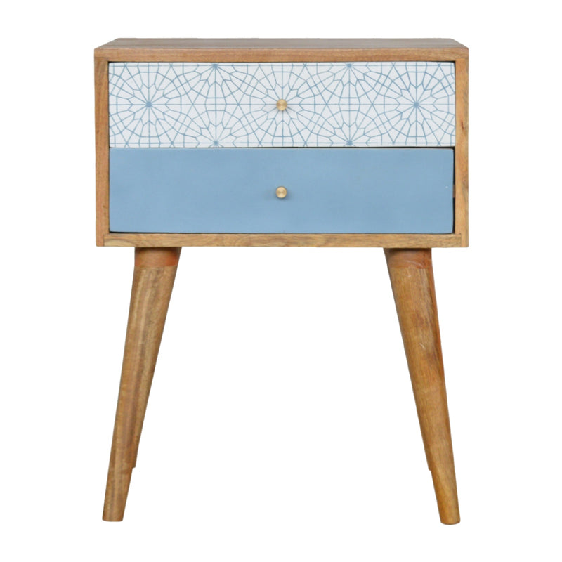 Dayne - 2 Drawer Bedside, Light Blue & White