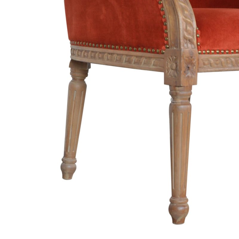 Rust Red Velvet Occasional Chair