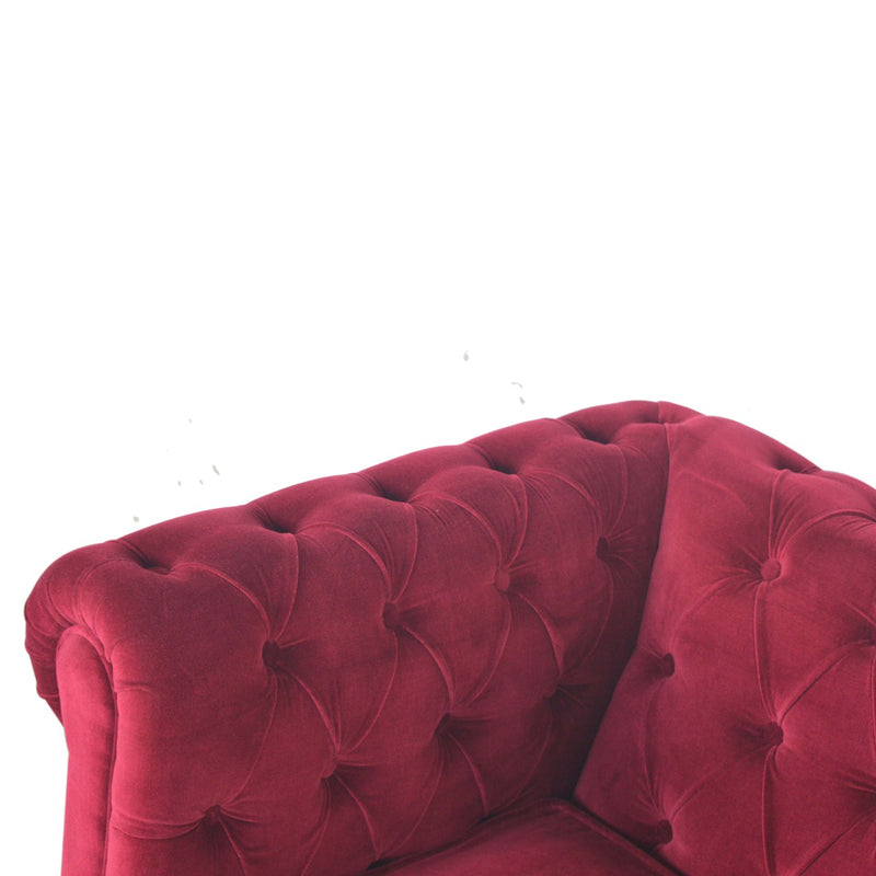 Handcrafted Wine Red Velvet Armchair