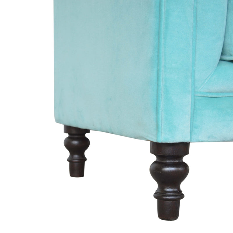 Handcrafted Turquoise Velvet Armchair
