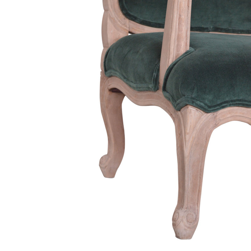 Emerald Green Velvet French Style Armchair