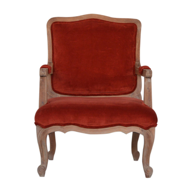 Handcrafted Rust Upholstered Velvet French Style Armchair