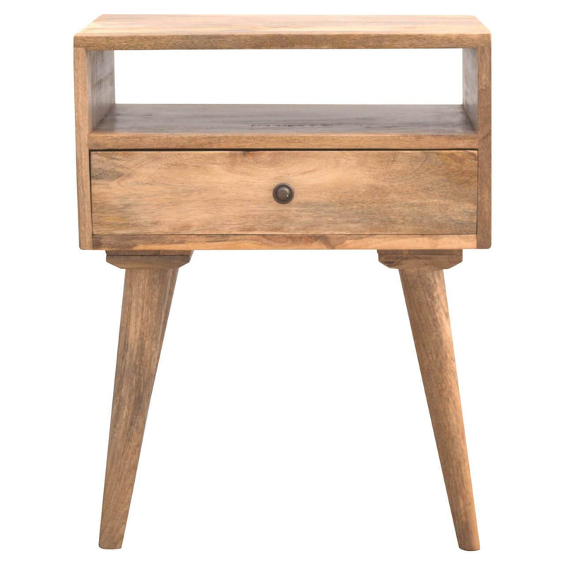 Handcrafted Modern Bedside Table With 1 Open Slot and 1 Drawer - HM_FURNITURE