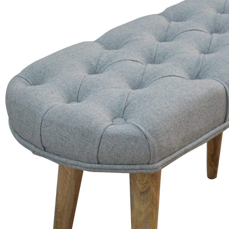 Handcrafted Nordic Style Grey Tweed Bench - HM_FURNITURE