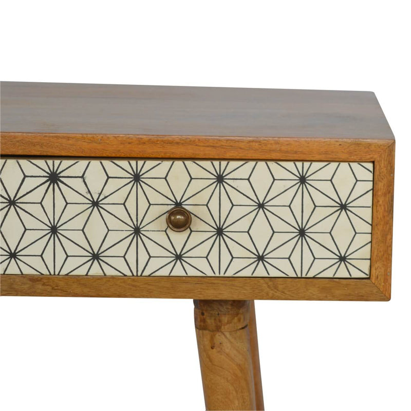 Handcrafted Desk With 3 Painted Drawers - HM_FURNITURE