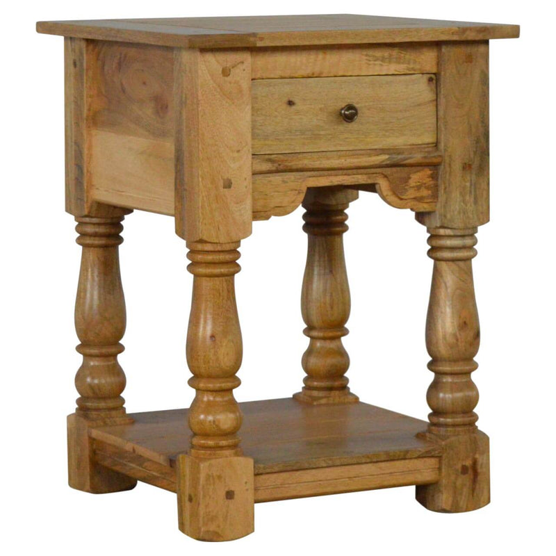 Handcrafted Bedside Table With Turned Legs - HM_FURNITURE