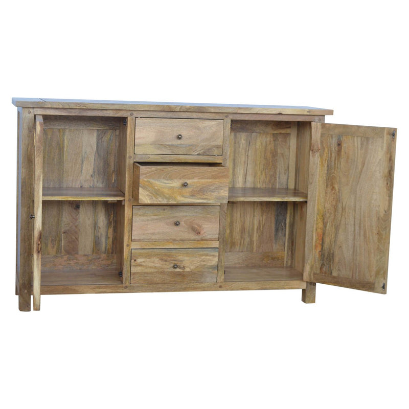 Handcrafted Solid Wood 2 Door Sideboard With 4 Drawers - HM_FURNITURE