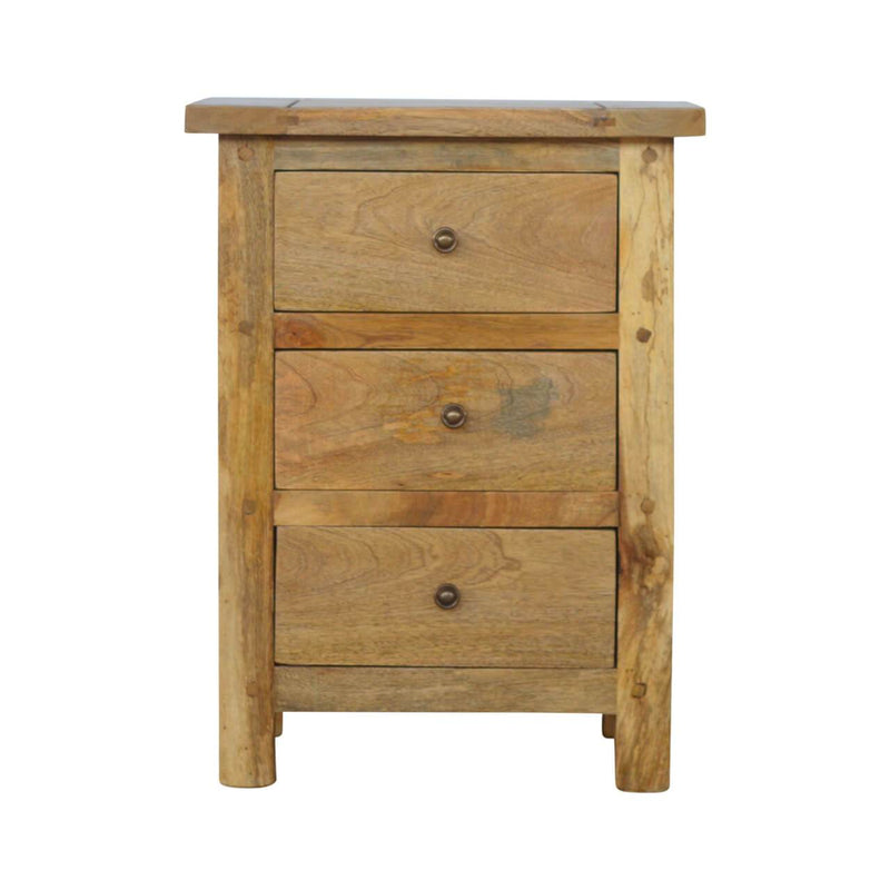 Oak Finish Handcrafted Bedside With 3 Drawers - HM_FURNITURE