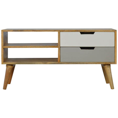 Handcrafted Media Unit With 2 Drawers and 2 Open Slots - HM_FURNITURE