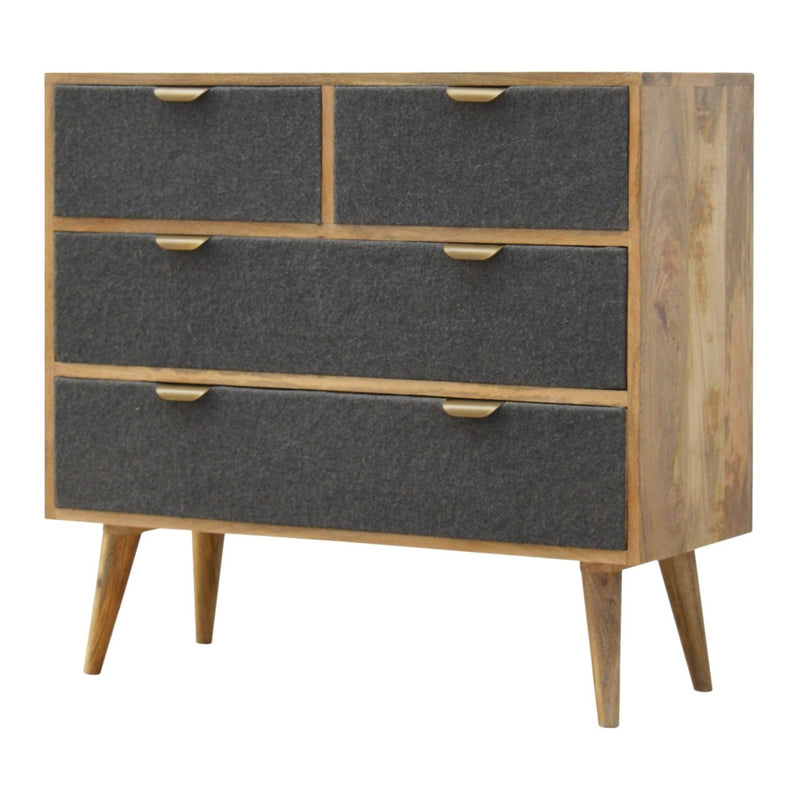 Handcrafted Chest With 4 Grey Tweed Fabric Drawers - HM_FURNITURE