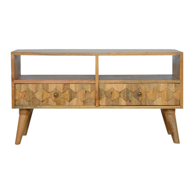 Handcrafted Media Unit With Hand Carved Drawers - HM_FURNITURE