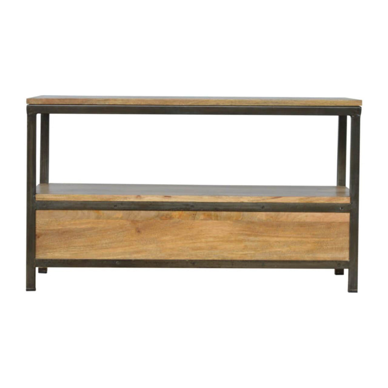 Handcrafted Coffee Table With 2 Drawers and Iron Structure - HM_FURNITURE