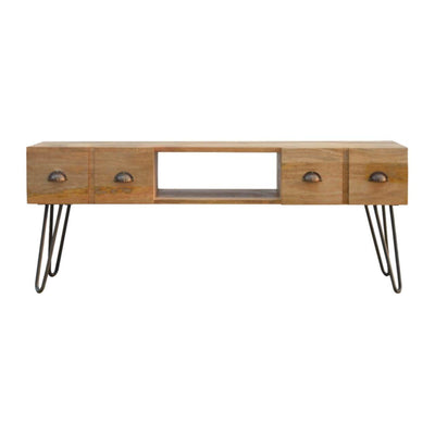 Handcrafted Media Unit With Pewter Iron Base - HM_FURNITURE