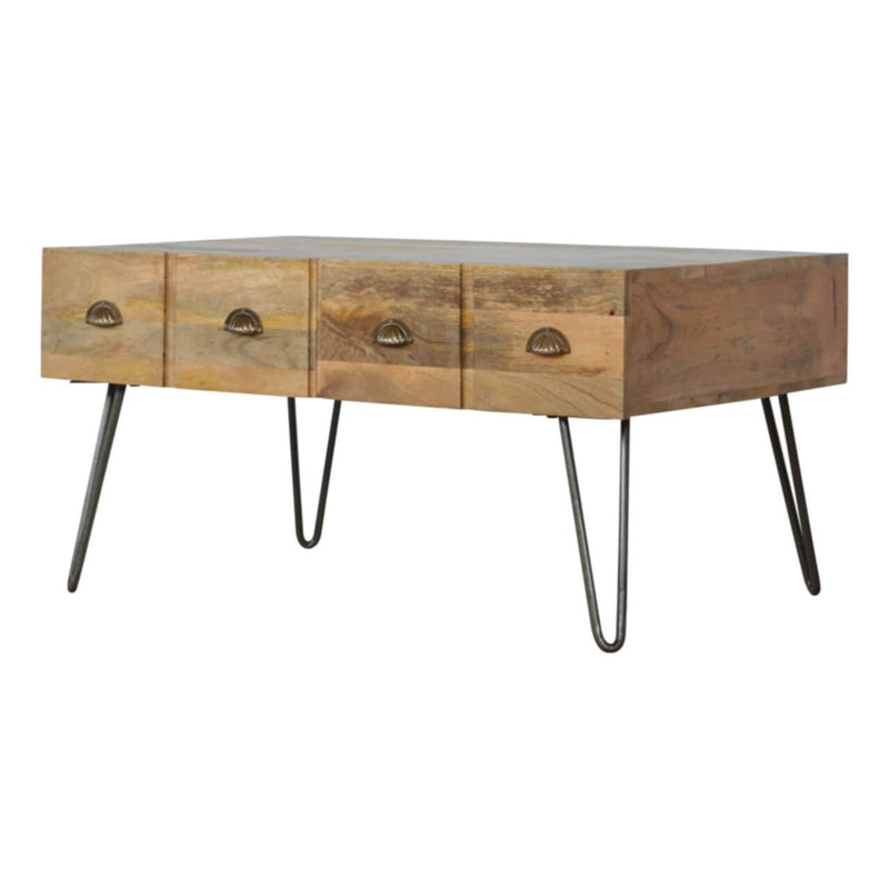 Solid Wood Coffee Table With 4 Drawers and Iron Legs - HM_FURNITURE