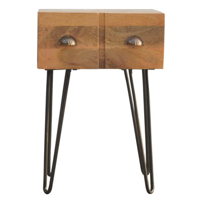 Handcrafted Bedside Table With 2 Drawers and Iron Structure - HM_FURNITURE