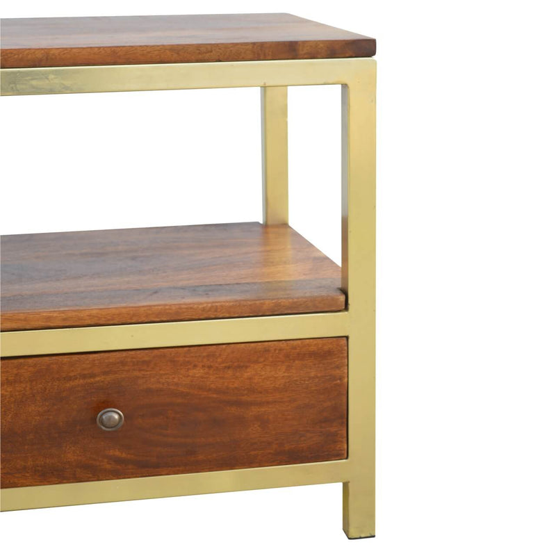 Handcrafted Coffee Table With 2 Drawers and Golden Structure - HM_FURNITURE