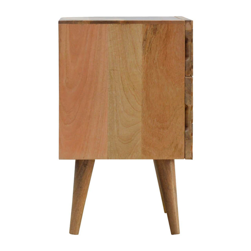 Handcrafted Bedside Table With Line Carved Drawers - HM_FURNITURE