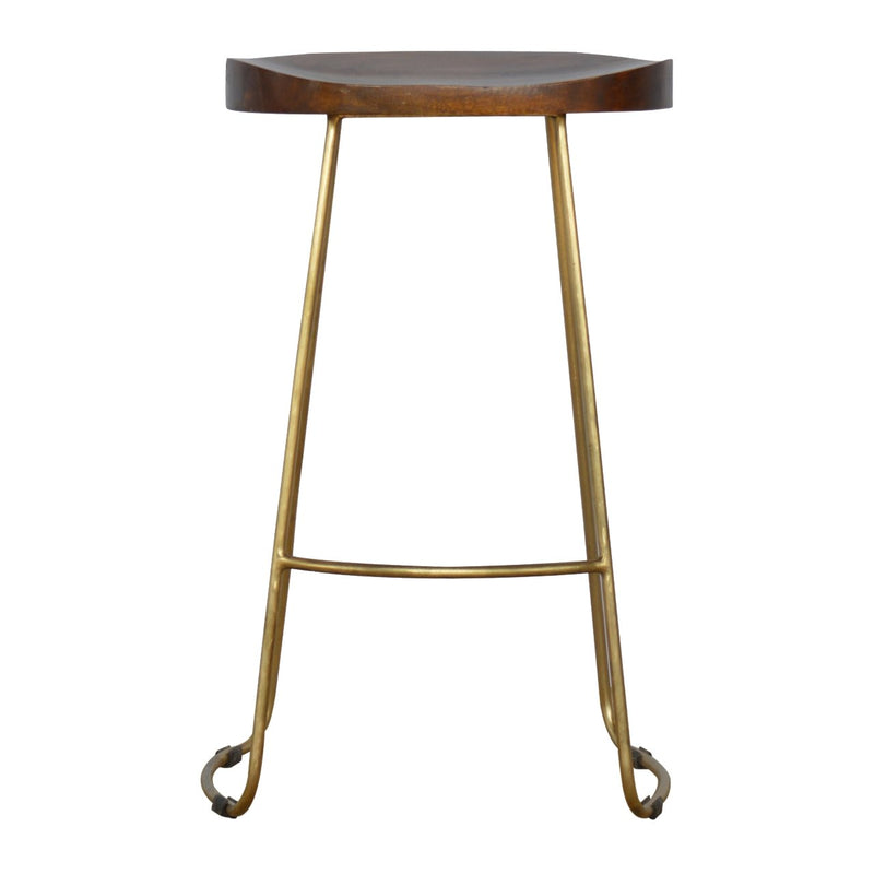 Handcrafted Bar Stool With Gold Touch Iron Base - HM_FURNITURE