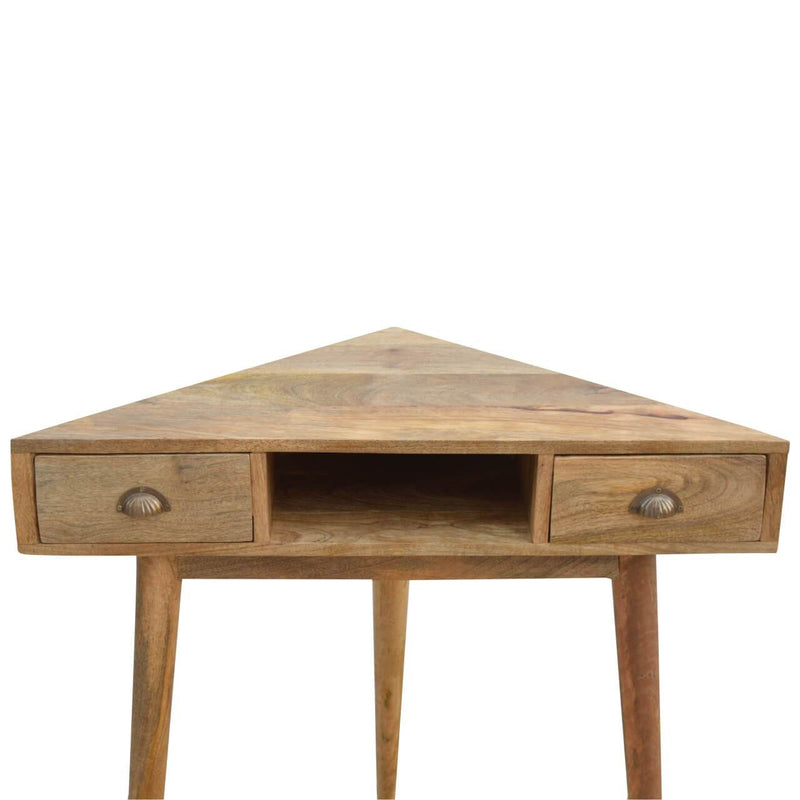 Handcrafted Corner Desk With 2 Drawers and 1 Open Slot - HM_FURNITURE