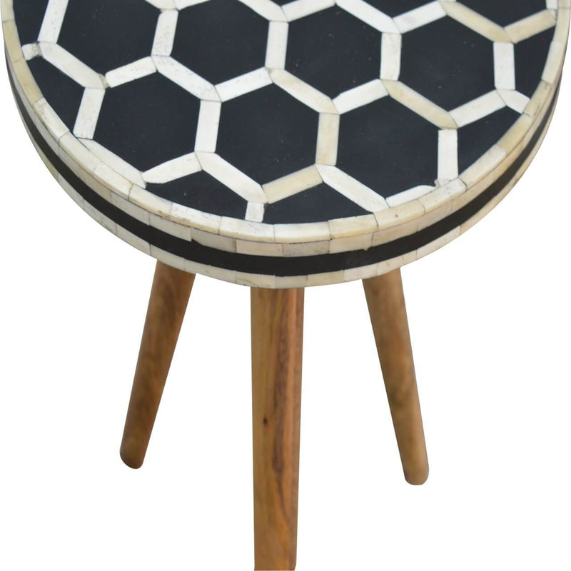 Handcrafted Bone Inlay Stool / Tea Table - HM_FURNITURE