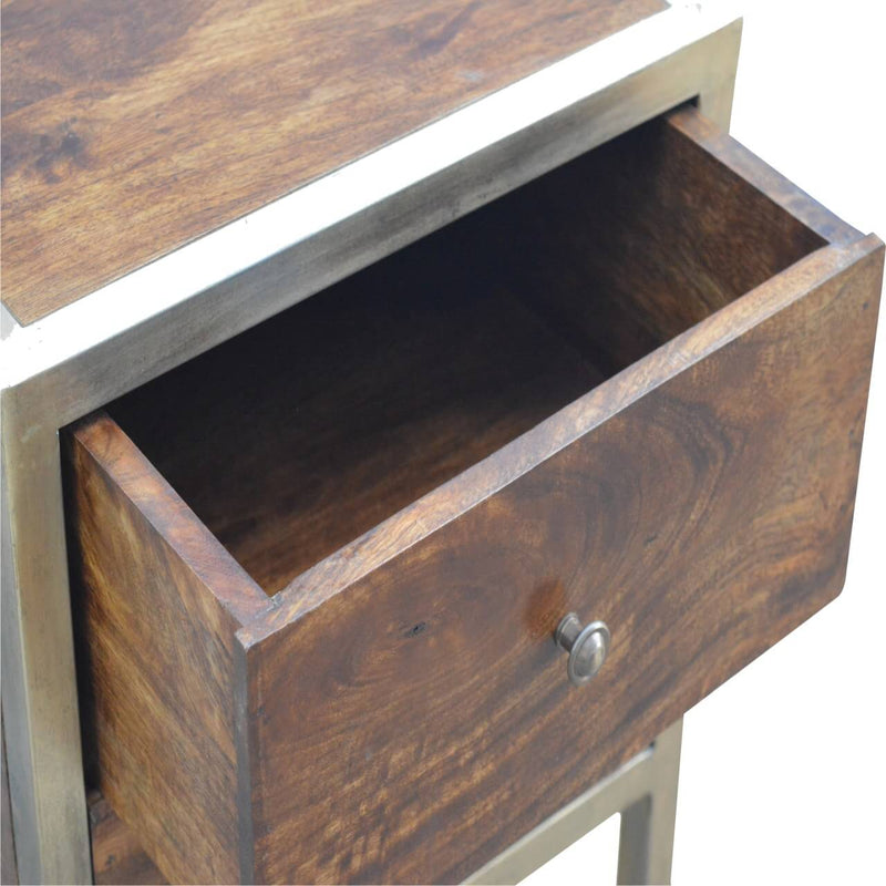 Handcrafted Bedside Table With Golden Frame - HM_FURNITURE