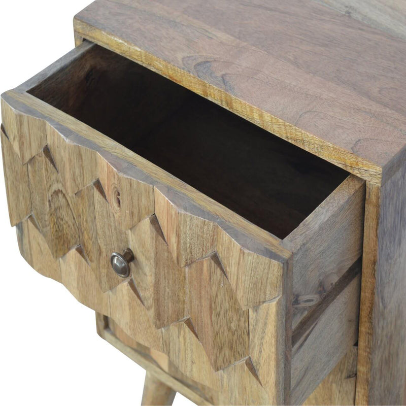 Handcrafted Media Unit With Carved Geometrical Patterns - HM_FURNITURE