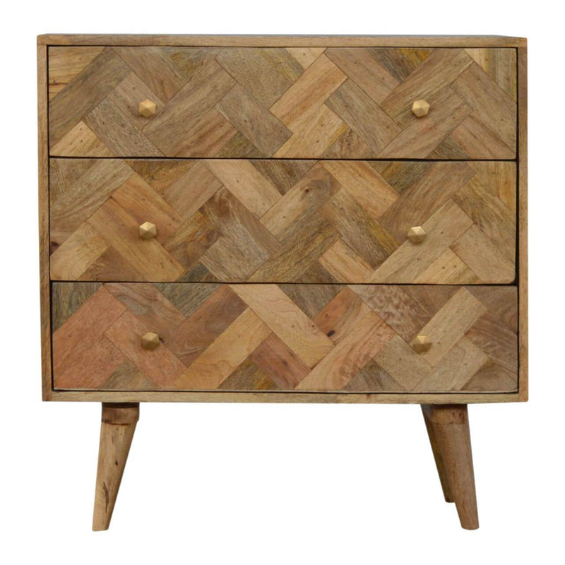 Handcrafted Patchwork 3 Chest Of Drawers - HM_FURNITURE