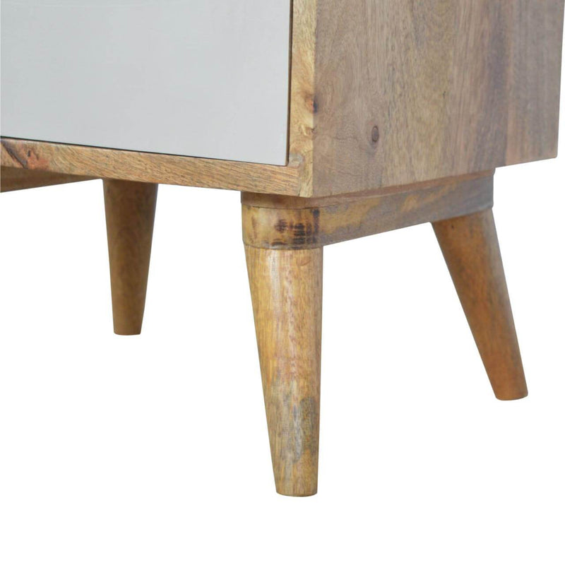 Handcrafted Bedside Table With 3 Hand Painted Drawers - HM_FURNITURE