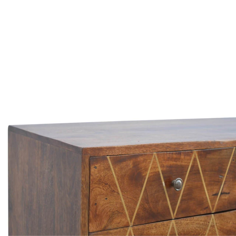 Handcrafted Media Unit With Brass Inlay Patterns - HM_FURNITURE