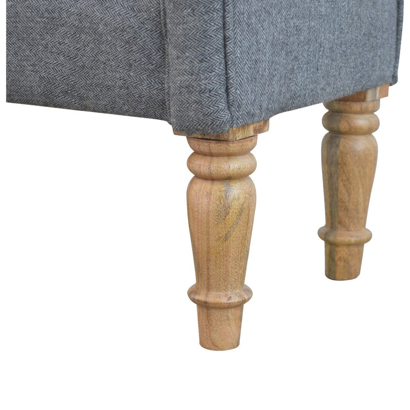 Handcrafted Grey Tweed Bench With Turned Legs - HM_FURNITURE