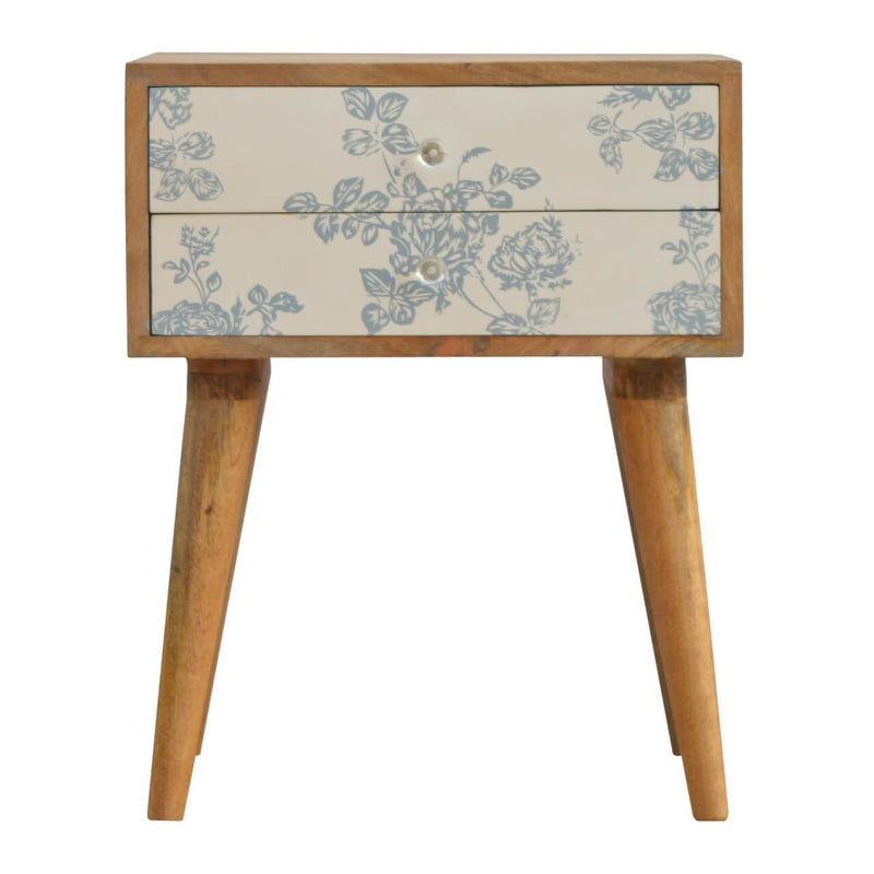 Handcrafted Floral Printed Bedside With 2 Drawers - HM_FURNITURE