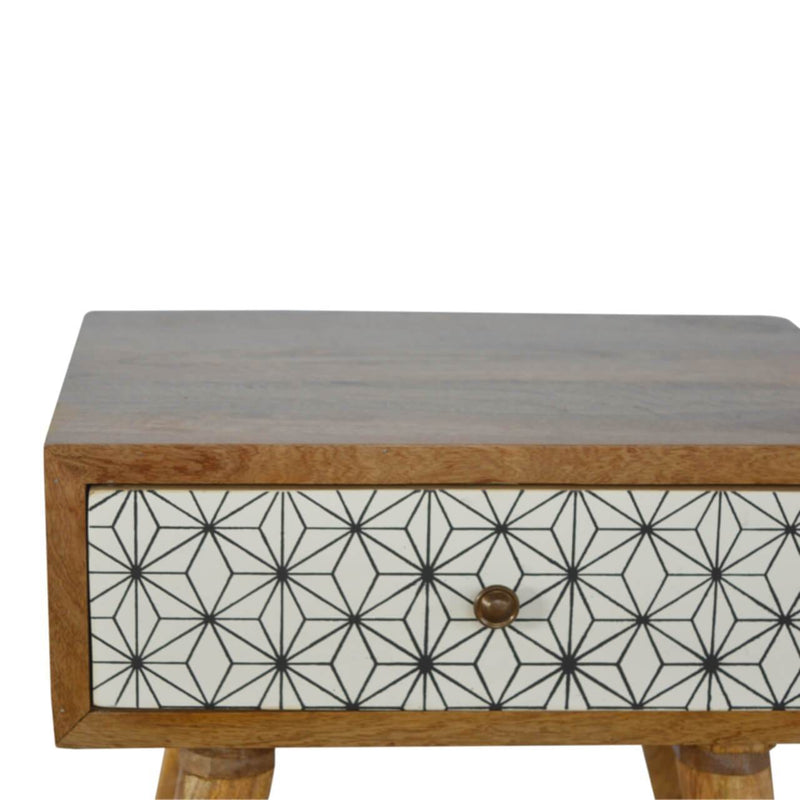 Handcrafted Bedside Table With 1 Hand Painted Drawer - HM_FURNITURE