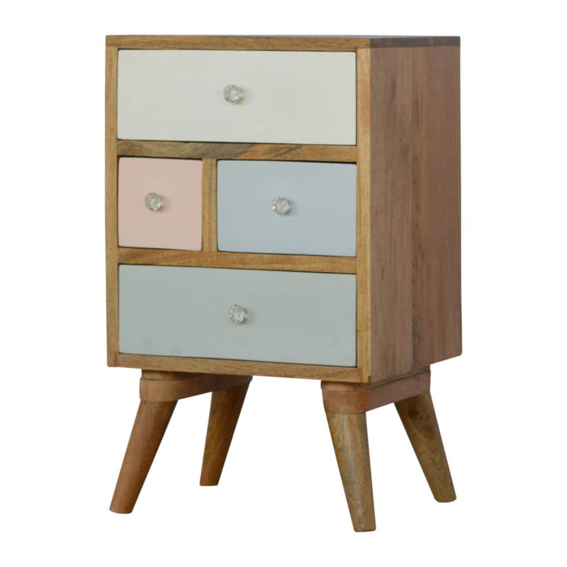 Handcrafted Bedside Table With Multicolour Drawers - HM_FURNITURE