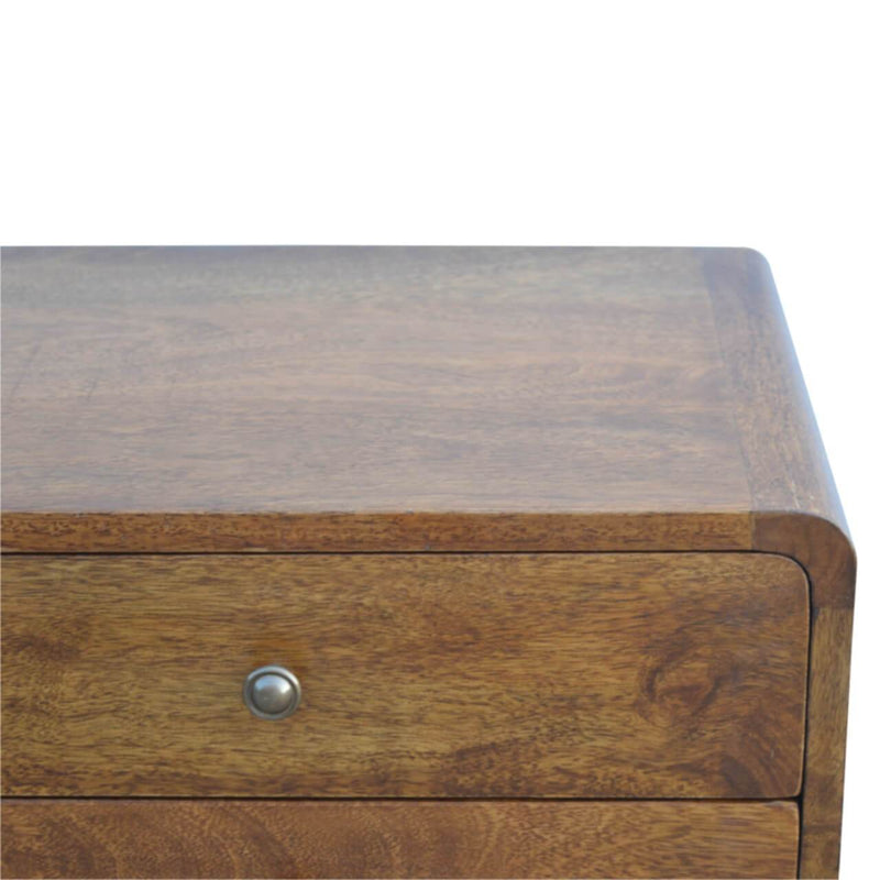 Handcrafted Chestnut Finish Bedside With 2 Drawers - HM_FURNITURE