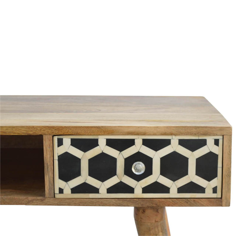 Handcrafted Bone Inlay Desk With 1 Drawer and 1 Open Slot - HM_FURNITURE
