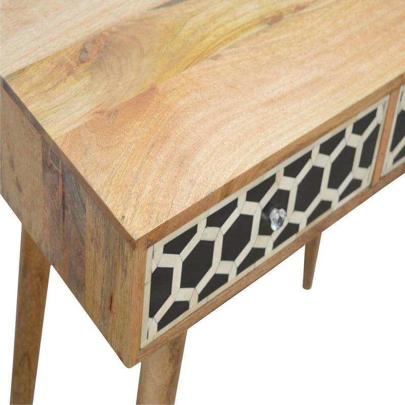 Handcrafted Bone Inlay Console Table With 2 Drawers - HM_FURNITURE