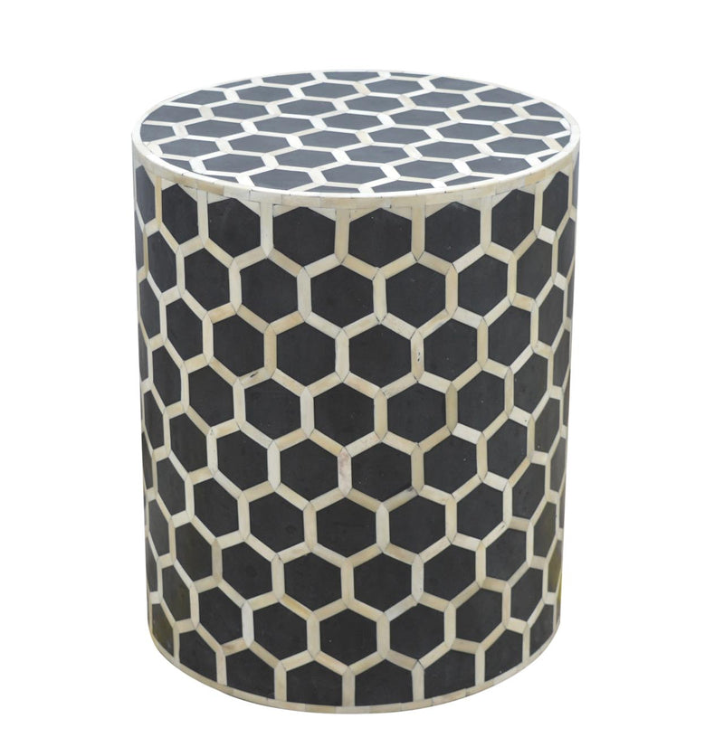 Handcrafted Bone Inlay Solid Wood Round Stool - HM_FURNITURE
