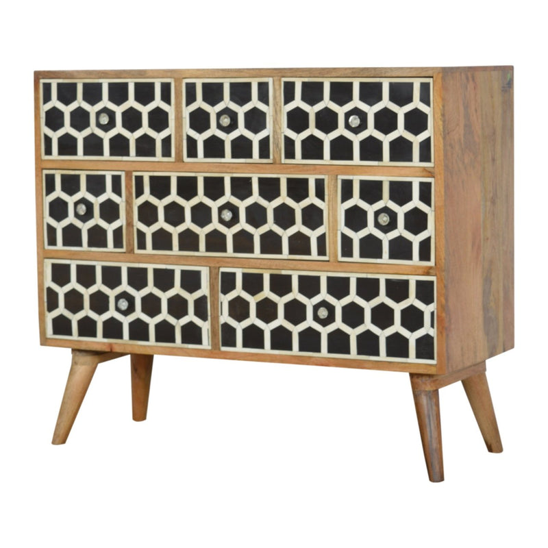 Handcrafted Bone Inlay Chest With 8 Drawers And Glass Knobs - HM_FURNITURE