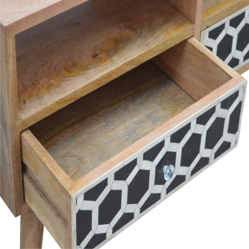 Handcrafted Bone Inlay Media Unit With 2 Drawers and 2 Open Slots - HM_FURNITURE