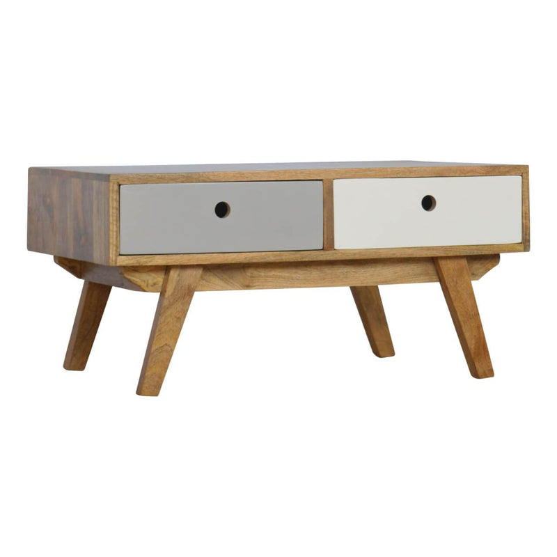 Handcrafted Solid Wood Coffee Table With 2 Tone Drawers - HM_FURNITURE